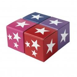 Würfel 4x4, white stars, 4 Farben