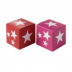 Würfel 4x4, white stars, rot-pink
