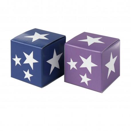 Würfel 4x4, white stars, lila-blau