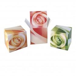 Geschenkschachtel Würfel Rose, 8 Stück