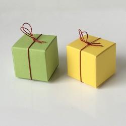 Geschenkschachtel Würfel 35 x 35 mm, 100 Stück, gelb, grün