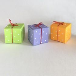 Geschenkschachtel Würfel, 4x4 cm, white pearls, 3 Farben