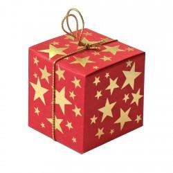 Geschenkschachtel Würfel 4x4 cm-Goldsterne, rot