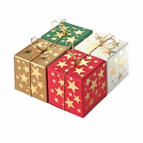 Geschenkschachtel Würfel 4x4 cm-Goldsterne- 8 Stück
