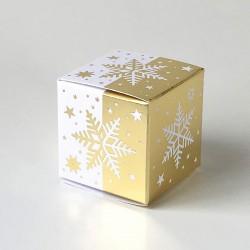 Geschenkschachtel Würfel 4x4 cm-Eiskristall weiß