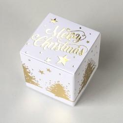 Geschenkschachtel Würfel 4x4 cm-merry christmas weiss
