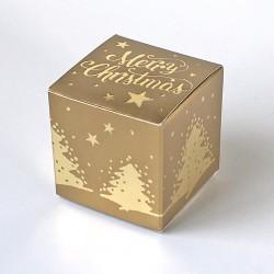 Geschenkschachtel Würfel 4x4 cm-merry christmas gold
