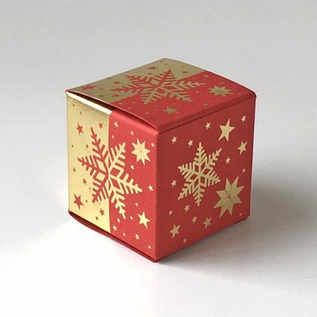Geschenkschachtel Würfel 4x4 cm-Eiskristall rot