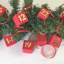 Adventskalender rot-24 Schachteln- zum Befüllen