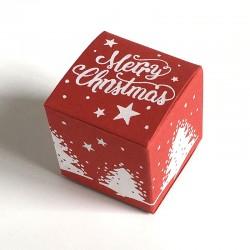 Geschenkschachtel Würfel 4x4 cm-merry christmas rot