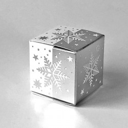 Geschenkschachtel Würfel 4x4 cm-Eiskristall weiß-silber