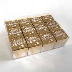 Geschenkschachtel-12 Stück-Würfel 4x4 cm-merry christmas-gold