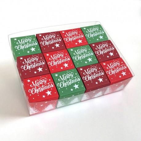 Geschenkschachtel-12 Stück-Würfel 4x4 cm-merry christmas-3 Farben