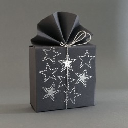 Geschenkschachtel grau,  Sterne