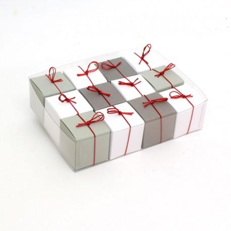 Geschenkschachteln-12 Stück-Würfel 4x4cm, weiß, grau