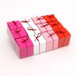 Geschenkschachteln-12 Stück-Würfel 4x4cm, pink, weiß, rosa, rot