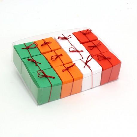 Geschenkschachteln-12 Stück-Würfel 4x4cm, grün, orange, weiß, rot