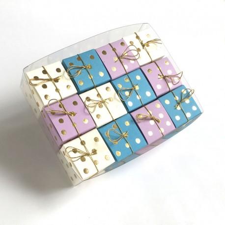 Geschenkschachteln-12 Stück-Würfel 4x4cm, Goldpunkte
