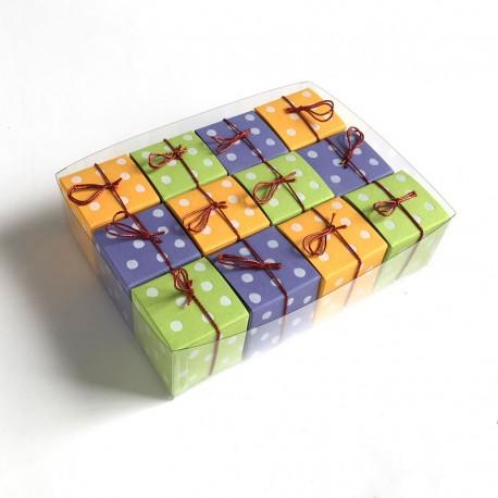 Geschenkschachteln-12 Stück-Würfel 4x4cm, Punkte weiss