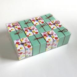 Geschenkschachteln-12 Stück-Würfel 4x4cm, bubbles und mint