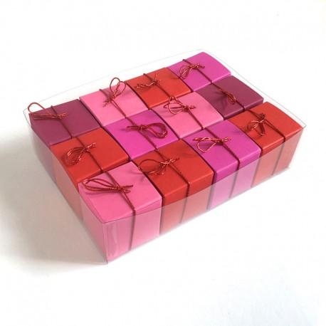 Geschenkschachteln-12 Stück-Würfel 4x4cm, Rottöne