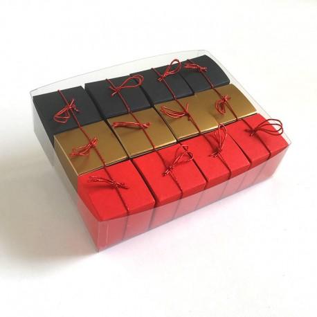 Geschenkschachteln-12 Stück-Würfel 4x4cm, schwarz, rot, gold