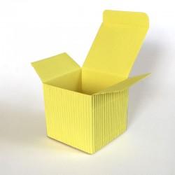 Geschenkschachtel Würfel 6,5 x 6,5 cm, Wellpappe gelb