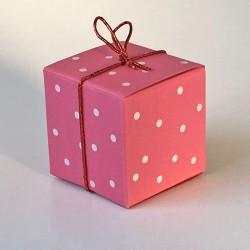Geschenkschachtel Würfel 4x4 cm, white pearls